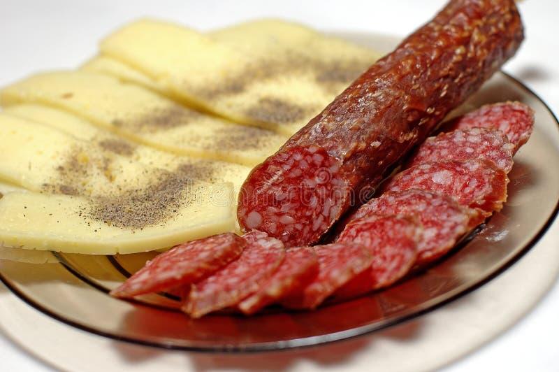 Salsiccia e formaggio fotografia stock