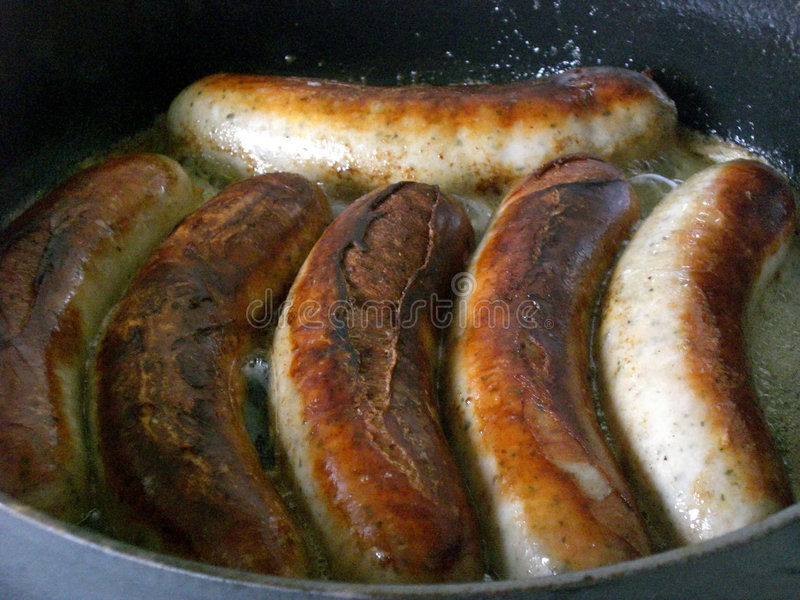 Salsiccia fritta fotografia stock