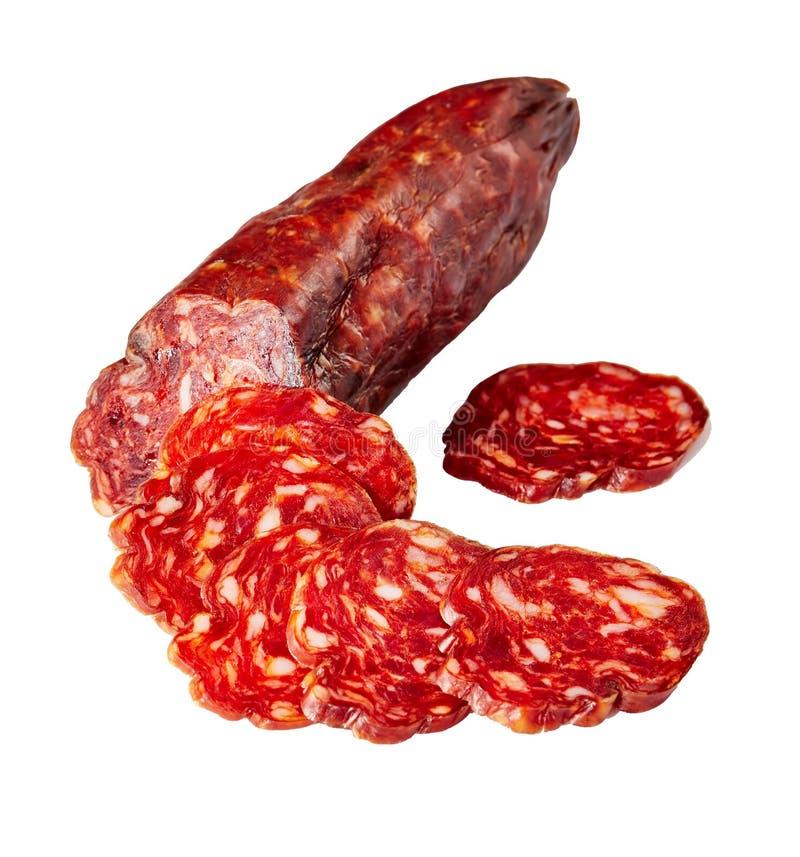 Salsiccia tagliata nelle fette, primo piano del chorizo immagine stock