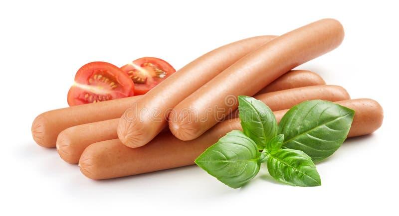 Salsiccie bollite fresche immagini stock