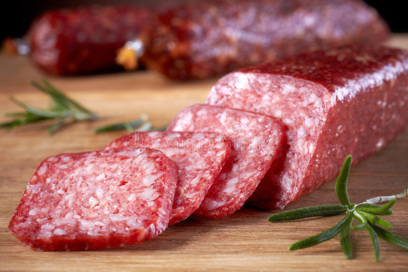 Salsiccie del salame fotografia stock
