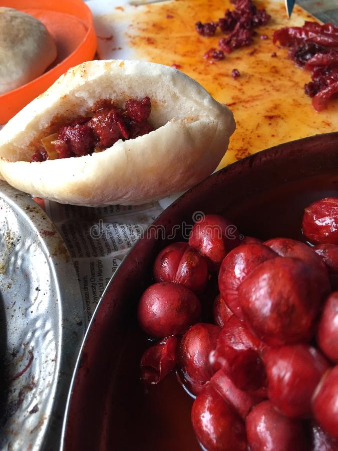 Salsiccie di Goa - choriso, cucina di Goa fotografie stock libere da diritti