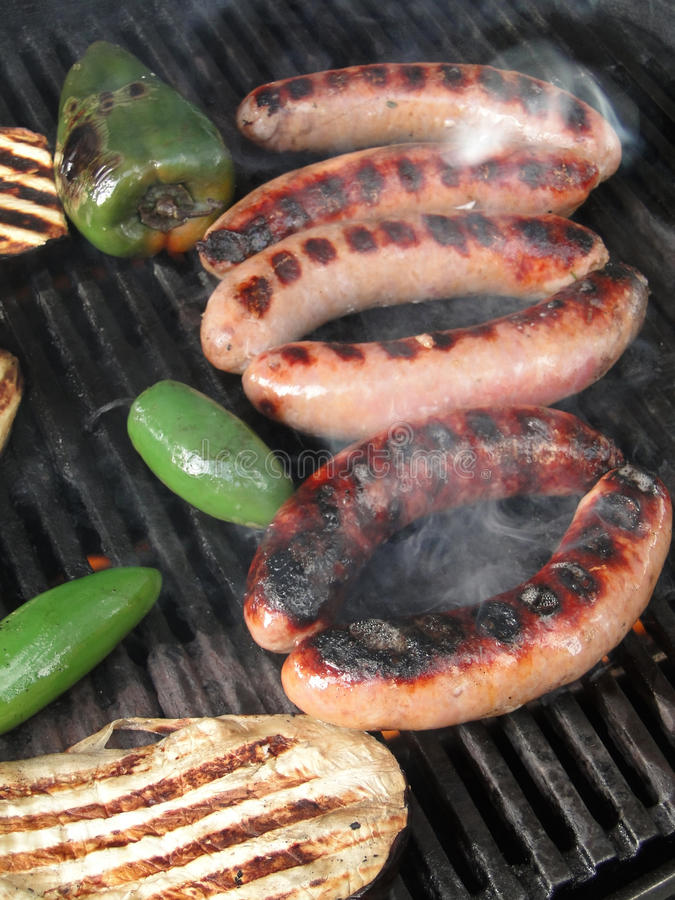 Salsiccie e peperoni fotografia stock