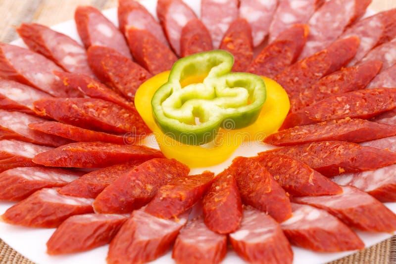 Salsiccie e peperoni immagini stock