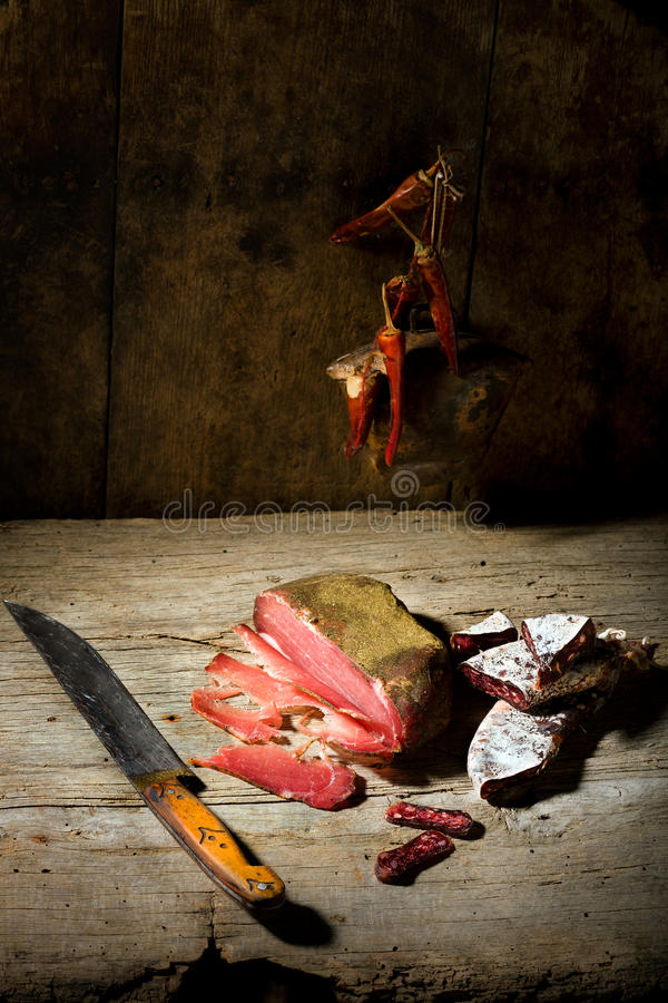 Salsiccie ed antipasto fotografia stock