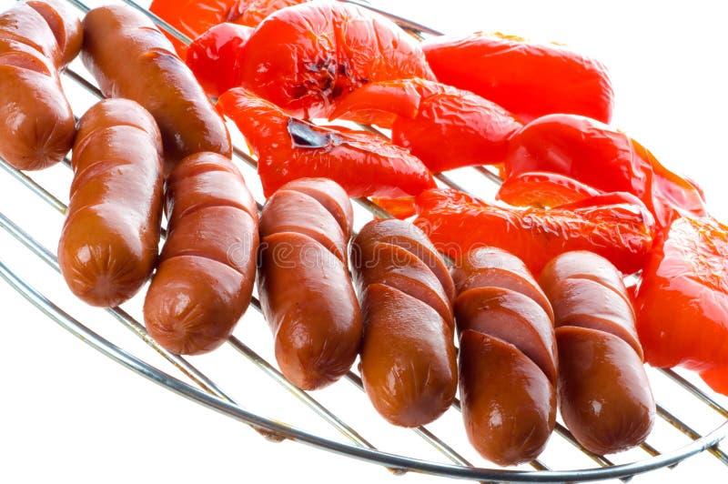 Salsiccie sul BBQ immagini stock libere da diritti