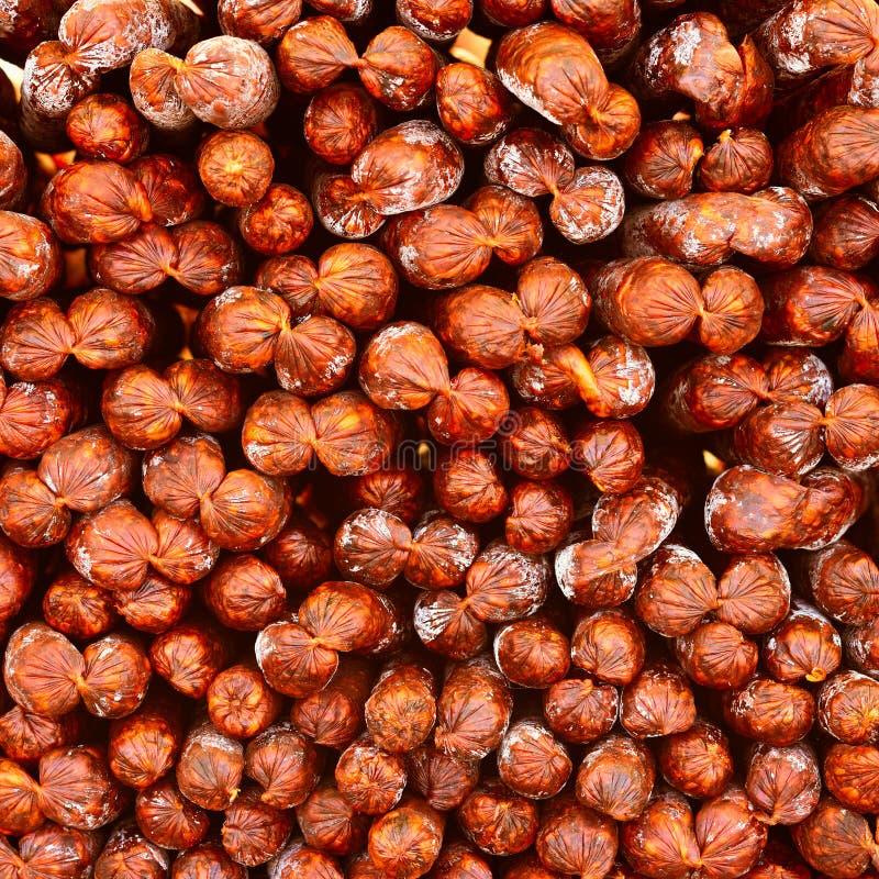 Salsiccie ungheresi saporite e piccanti fotografie stock