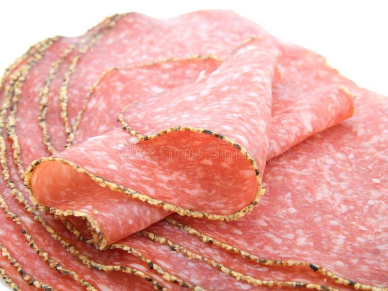 Salsicha alemão do salami da pimenta imagens de stock