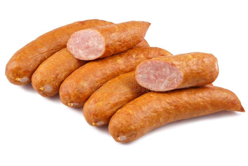 Salsicha, carnes frias dos jess isoladas no fundo branco imagem de stock