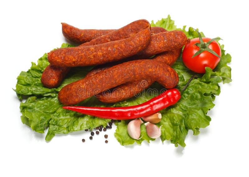 Salsicha com vegetais imagem de stock royalty free