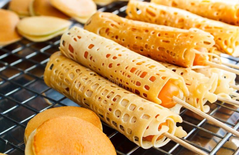 Salsicha da panqueca do Tóquio foto de stock
