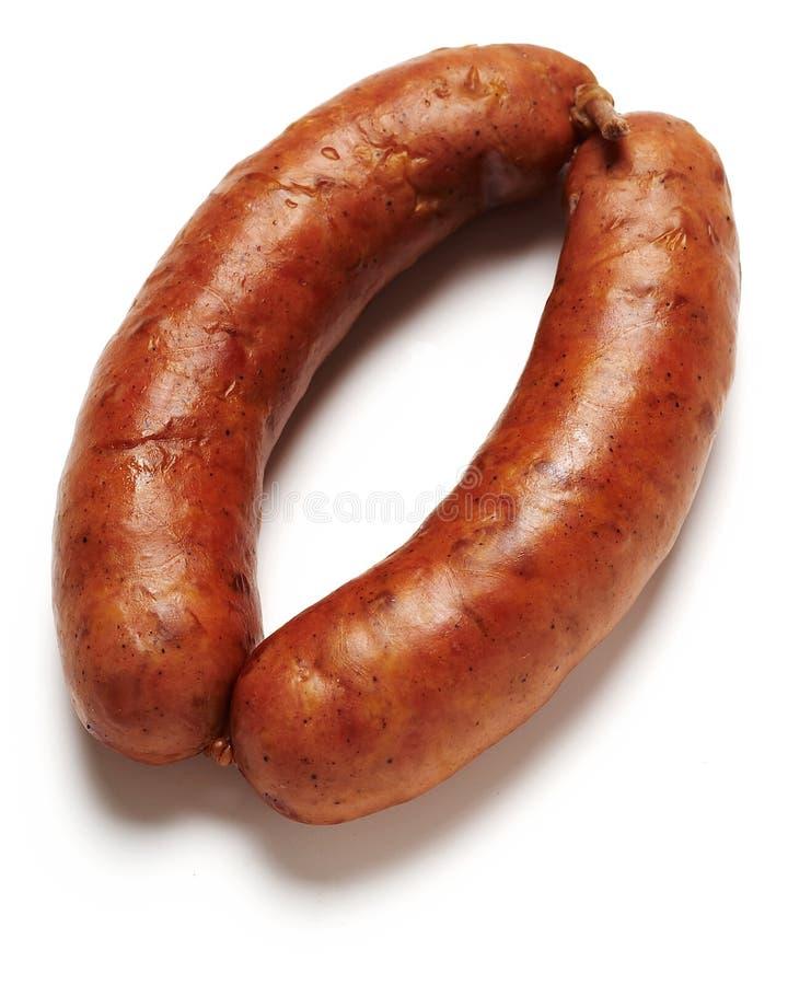 Salsicha de carne de porco fresca cortada fervida fotos de stock