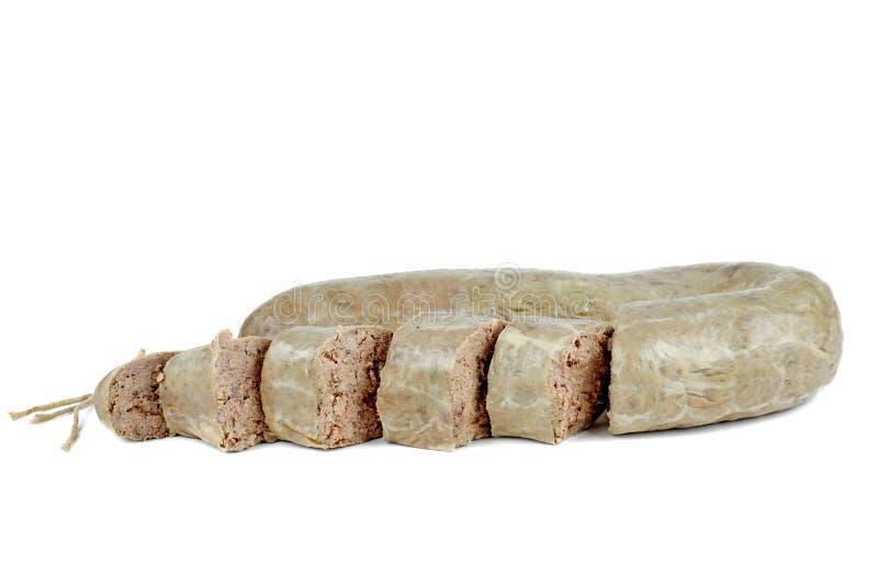 Salsicha de fígado cortada fotografia de stock