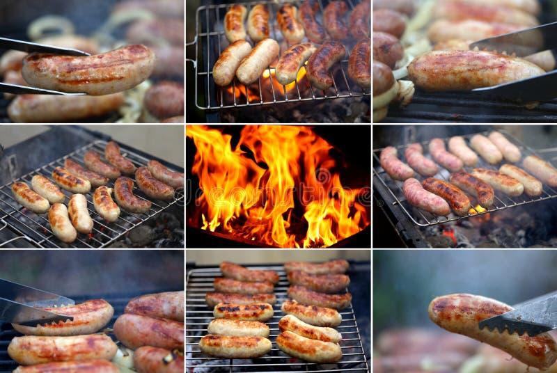 Salsicha do BBQ do ob da colagem. imagens de stock