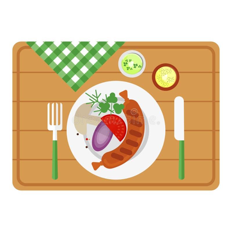 Salsicha do BBQ na bandeja de madeira ilustração royalty free