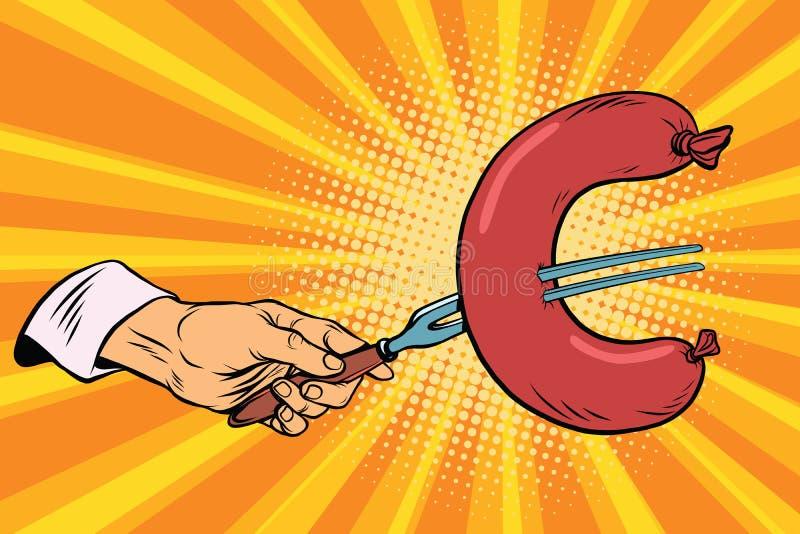 Salsicha do Euro, finança do fast food ilustração do vetor
