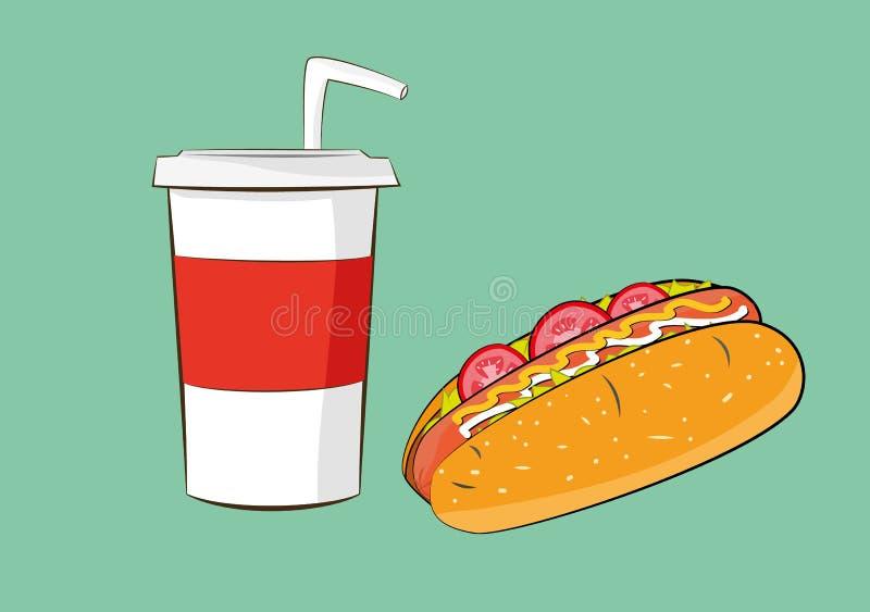 Salsicha do Hotdog com bebida da cola ilustração do vetor