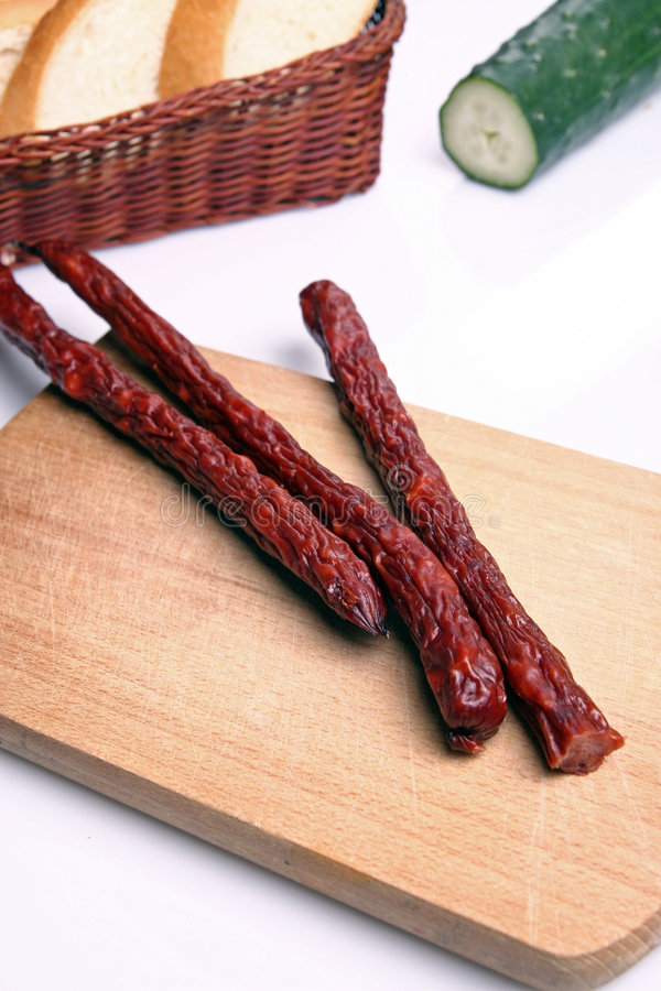 Salsicha do Salami fotografia de stock