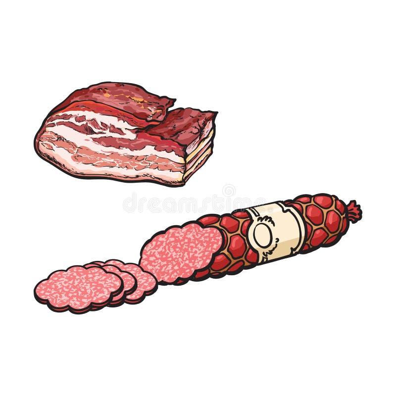 Salsicha e banha do salame do esboço do vetor ilustração stock