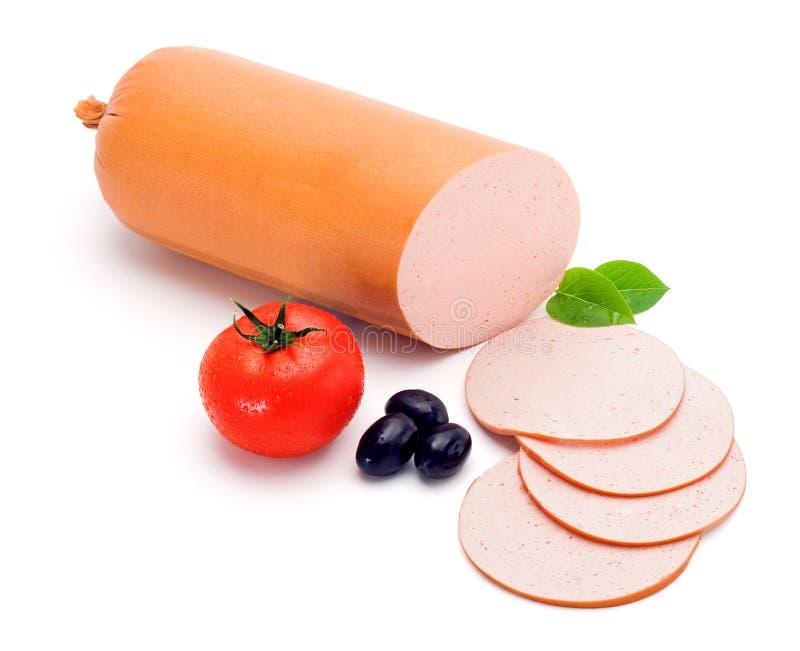 Salsicha e fatias simples da Bolonha foto de stock royalty free
