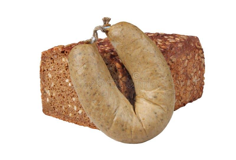 Salsicha e pão de fígado foto de stock