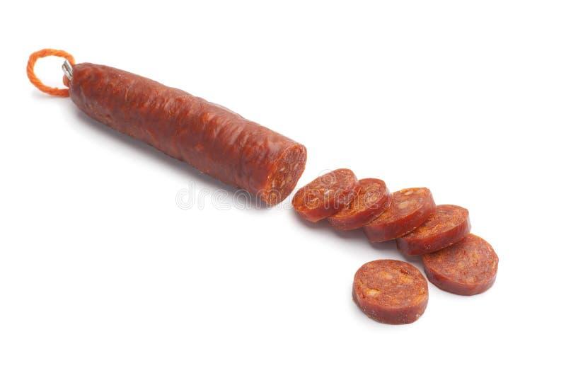 Salsicha espanhola cortada do chorizo fotografia de stock