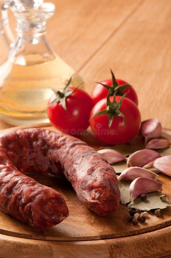 Salsicha espanhola do chorizo fotografia de stock royalty free