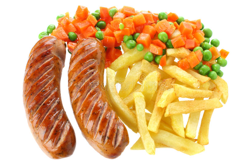 Salsicha fritada com fritadas francesas fotos de stock royalty free