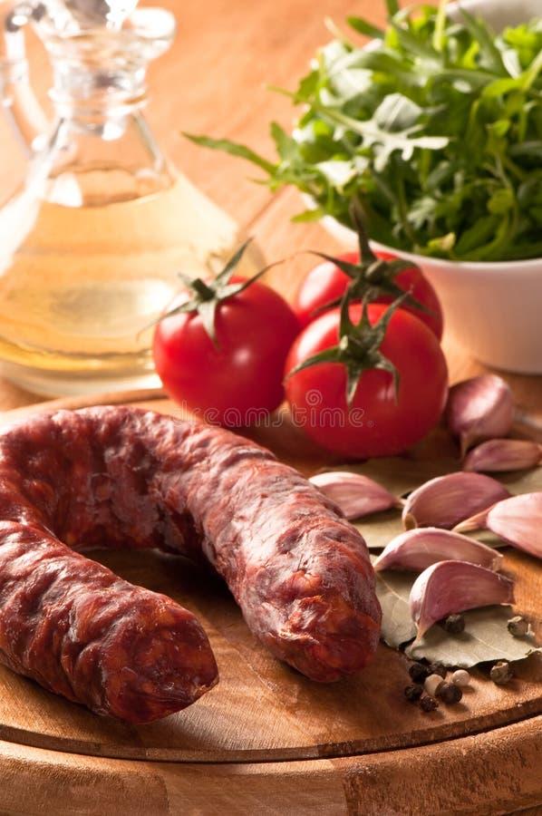 Salsicha inteira do chorizo foto de stock