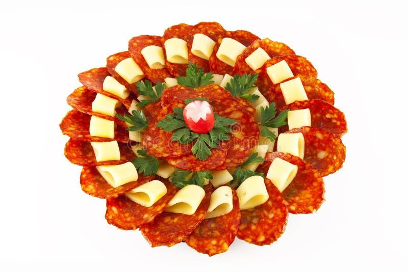 Salsicha, salsa e queijo fotografia de stock