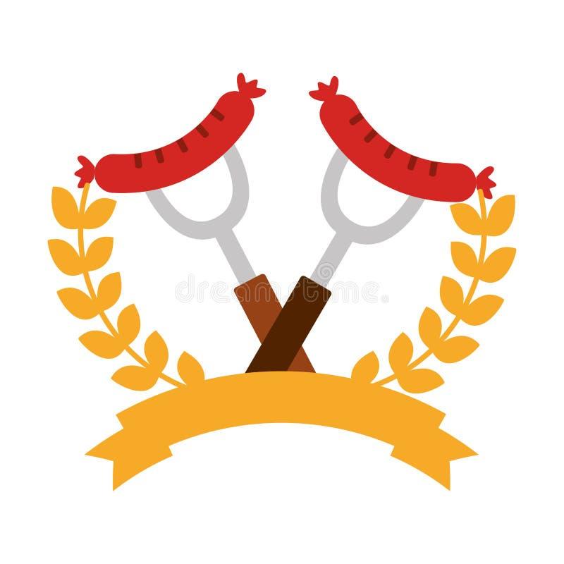 Salsicha tipo frankfurter deliciosa das salsichas com coroa e fita ilustração stock
