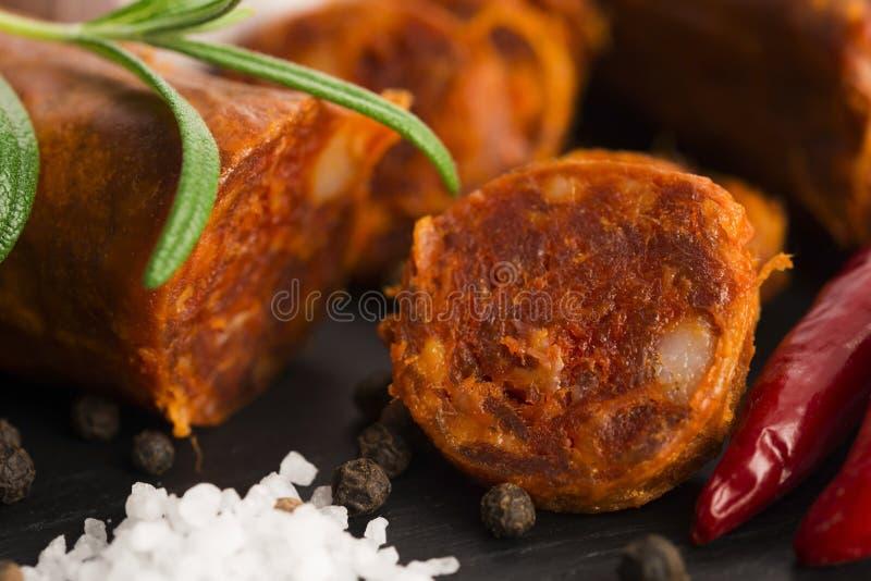 Salsicha tradicional espanhola do chouriço foto de stock