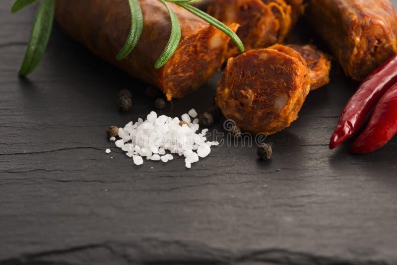 Salsicha tradicional espanhola do chouriço foto de stock royalty free