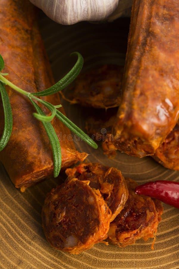 Salsicha tradicional espanhola do chouriço imagem de stock