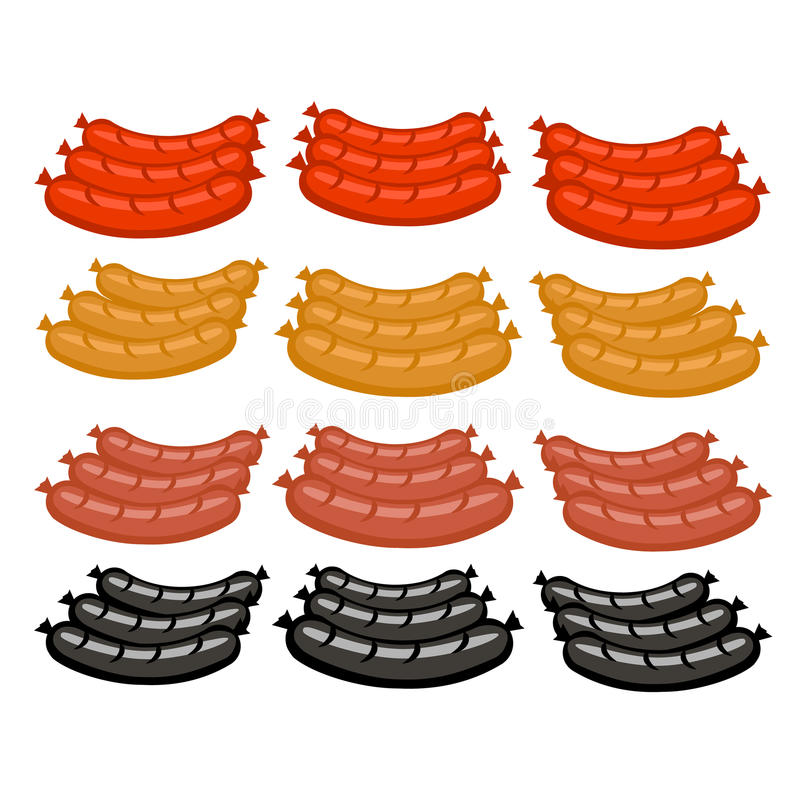 Salsichas ajustadas do vetor em cores diferentes ilustração royalty free