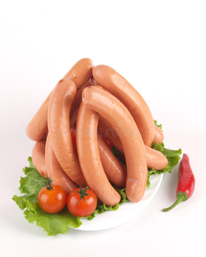 Salsichas de carne de porco frescas fotos de stock