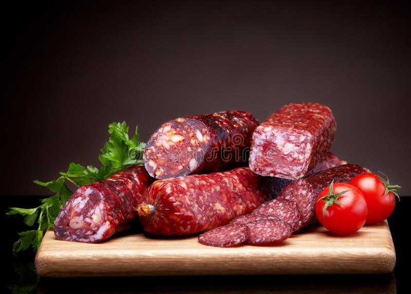 Salsichas do salame imagens de stock