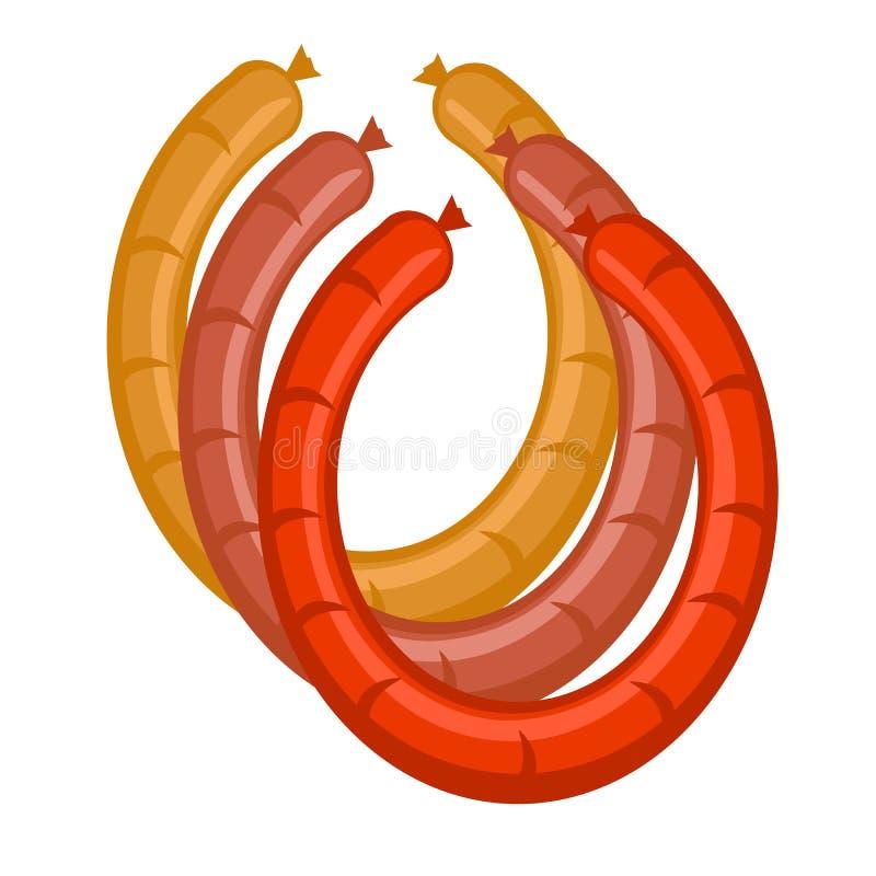 Salsichas do vetor nas cores ilustração royalty free