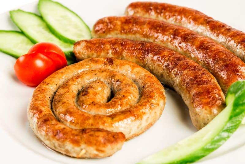 Salsichas grelhadas da carne fotografia de stock