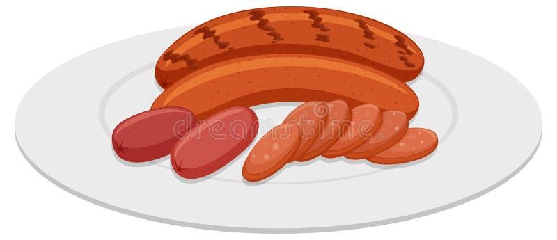 Salsichas grelhadas na placa redonda ilustração do vetor