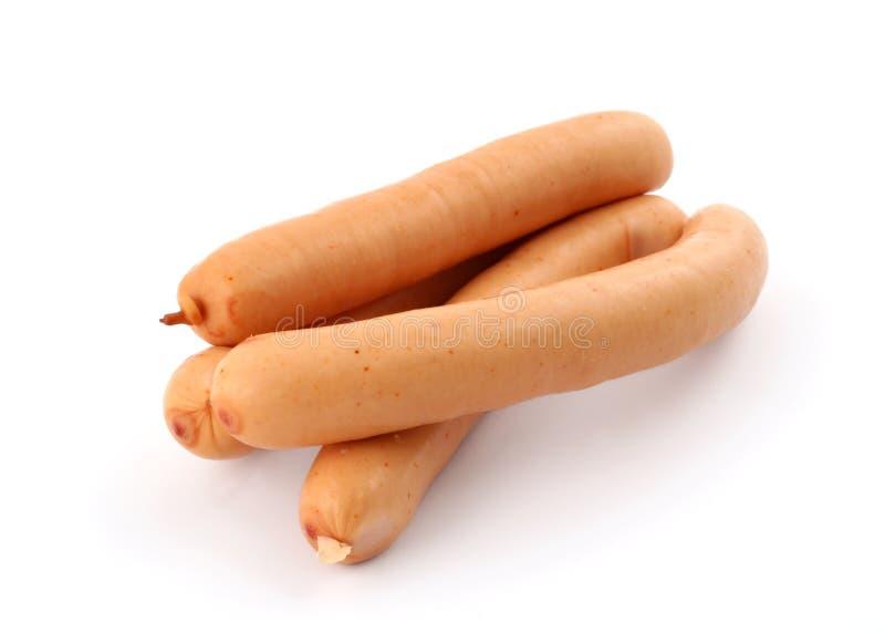 salsichas no branco fotografia de stock