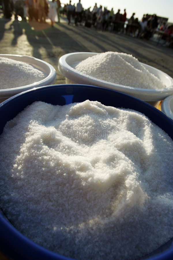 Salt. Sea salt is drying on the sun royalty free stock photos