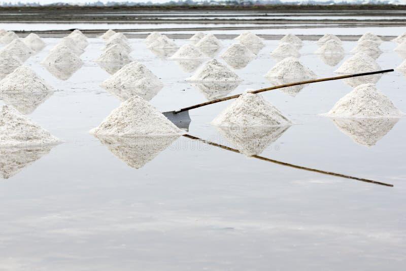 Salt avdunstningdamm för hav i Petchaburi, Thailand arkivfoto