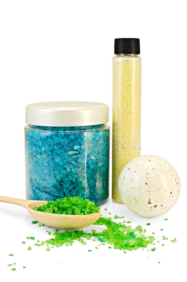 Salt bath is different royalty free stock photography