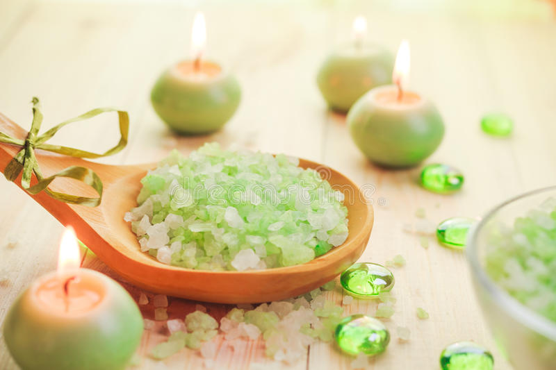 Download Salt Bath Scented Candles Table Stock Photo - Image: 39320675