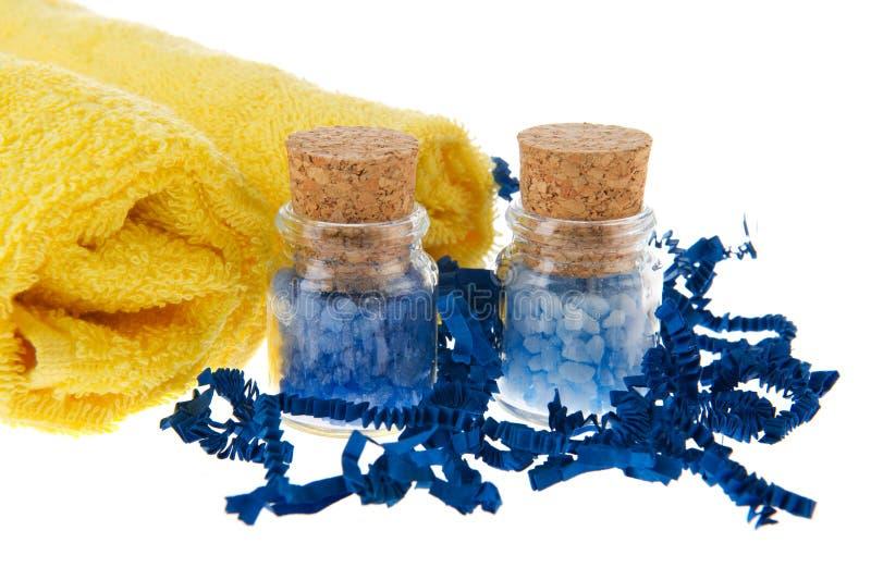 salt blåa jars för bad arkivfoto