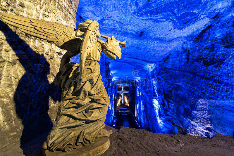 Salt Cathedral Angel. Angel made of salt in the salt cathedral in Zipaquira, Colombia stock images