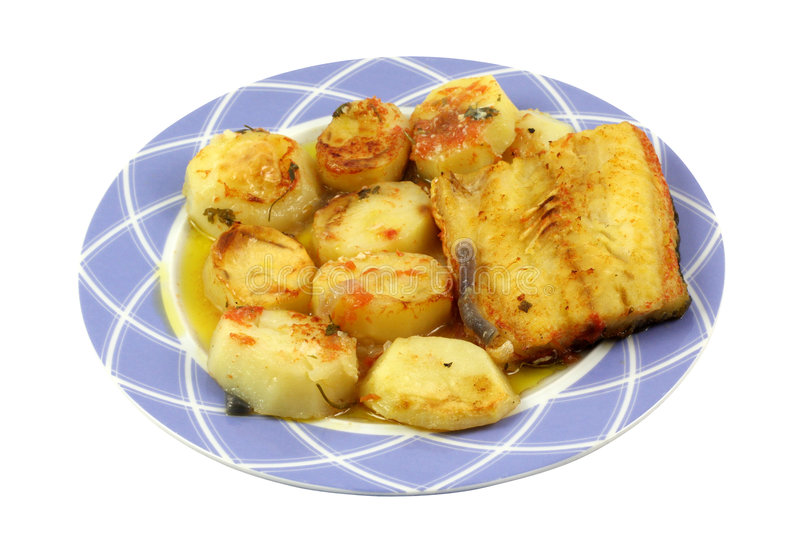 Salt cod fish and chips royalty free stock photos