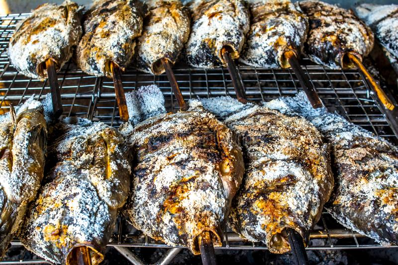 Salt-Crusted Grilled Fish. Is grilling stock photos
