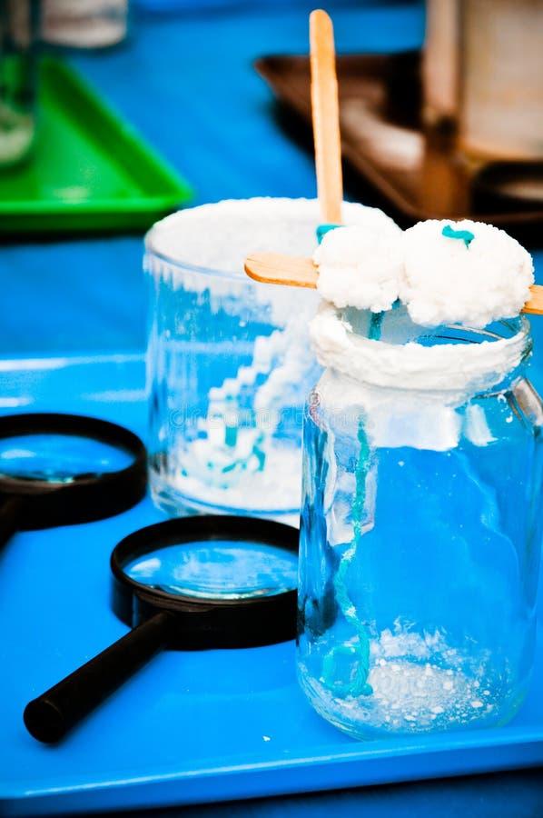 Salt crystallization - children's experiment stock photo